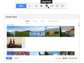 Desde Gmail en tu PC puedes adjuntar  fotos que hayas tomado en tu Android