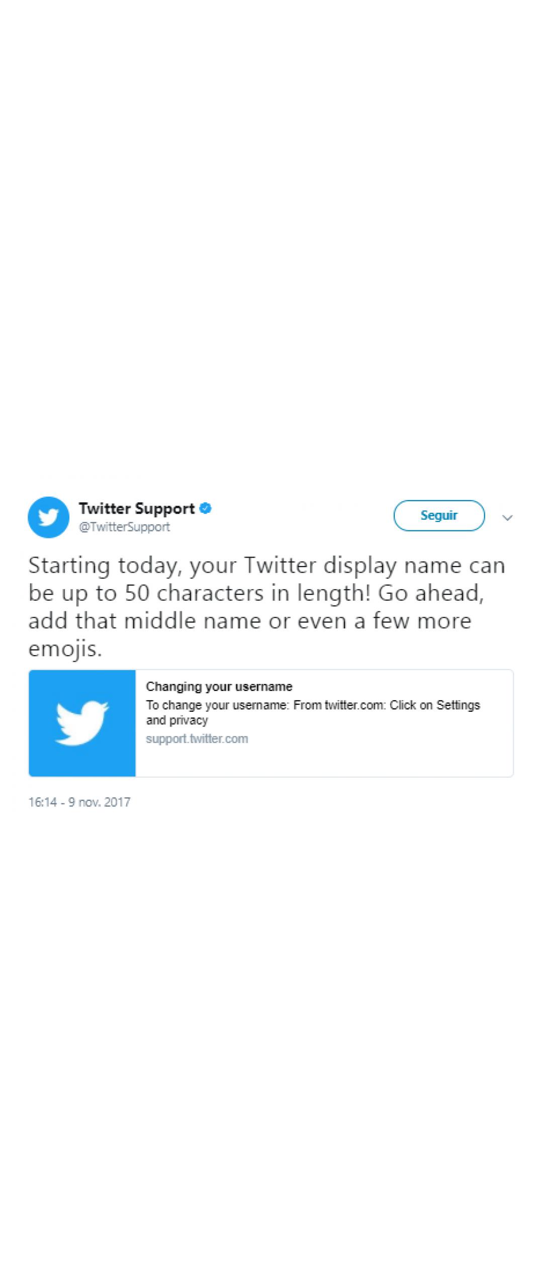 Twitter ya permite nombres de hasta 50 caracteres