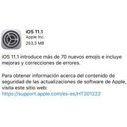 iOS 11.1 ya está disponible para su descarga